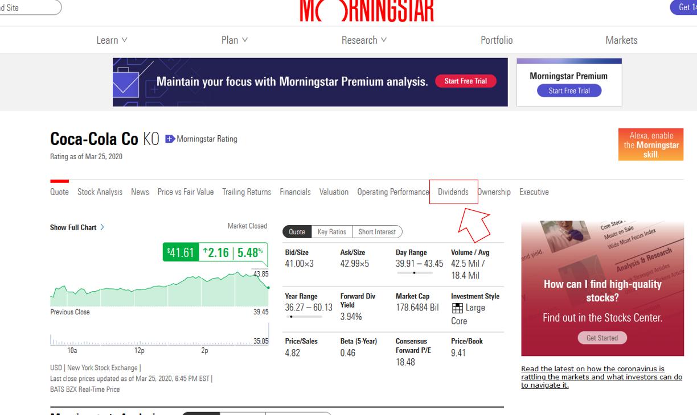 morningstarを使った米国株の配当月の調べ方