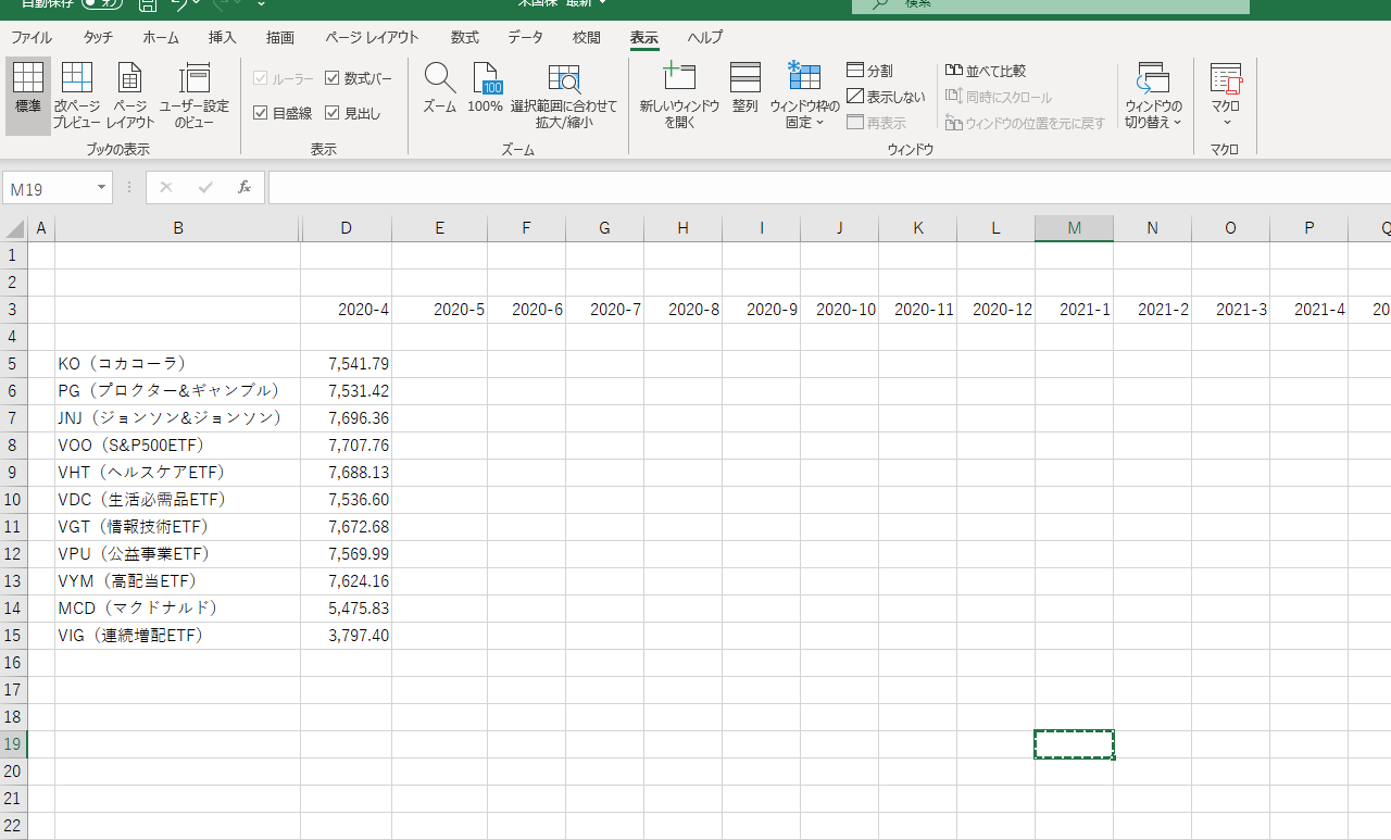円グラフにしたいデータを入力