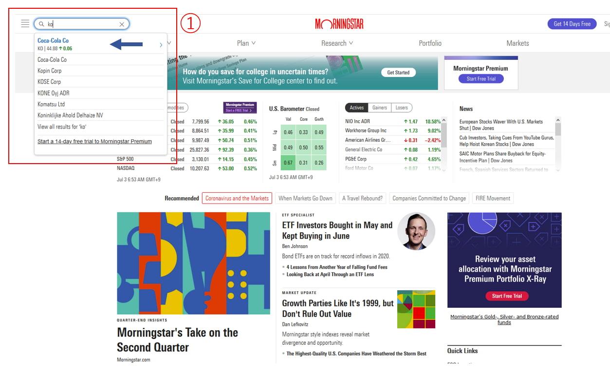 サイトトップページ左上の検索に、調べたい銘柄のティッカーを入力